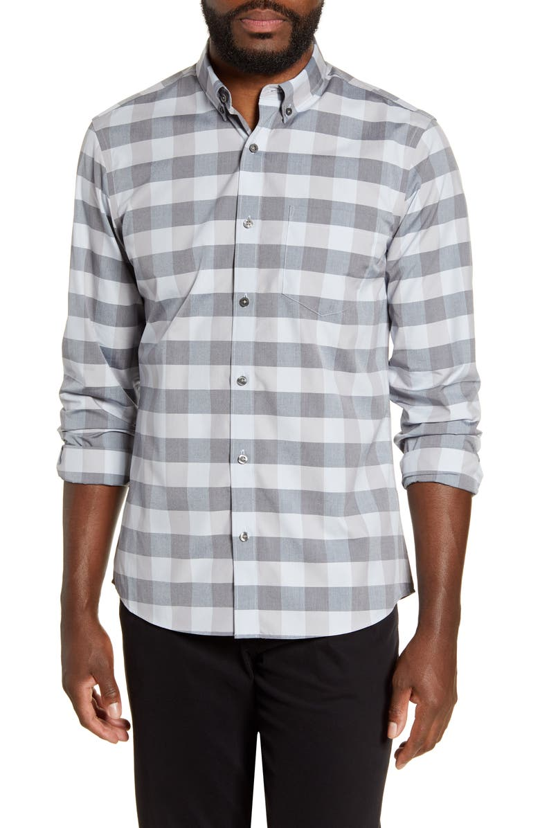 NORDSTROM MEN'S SHOP Slim Fit Non-Iron Check Button-Down Shirt, Main, color, 450