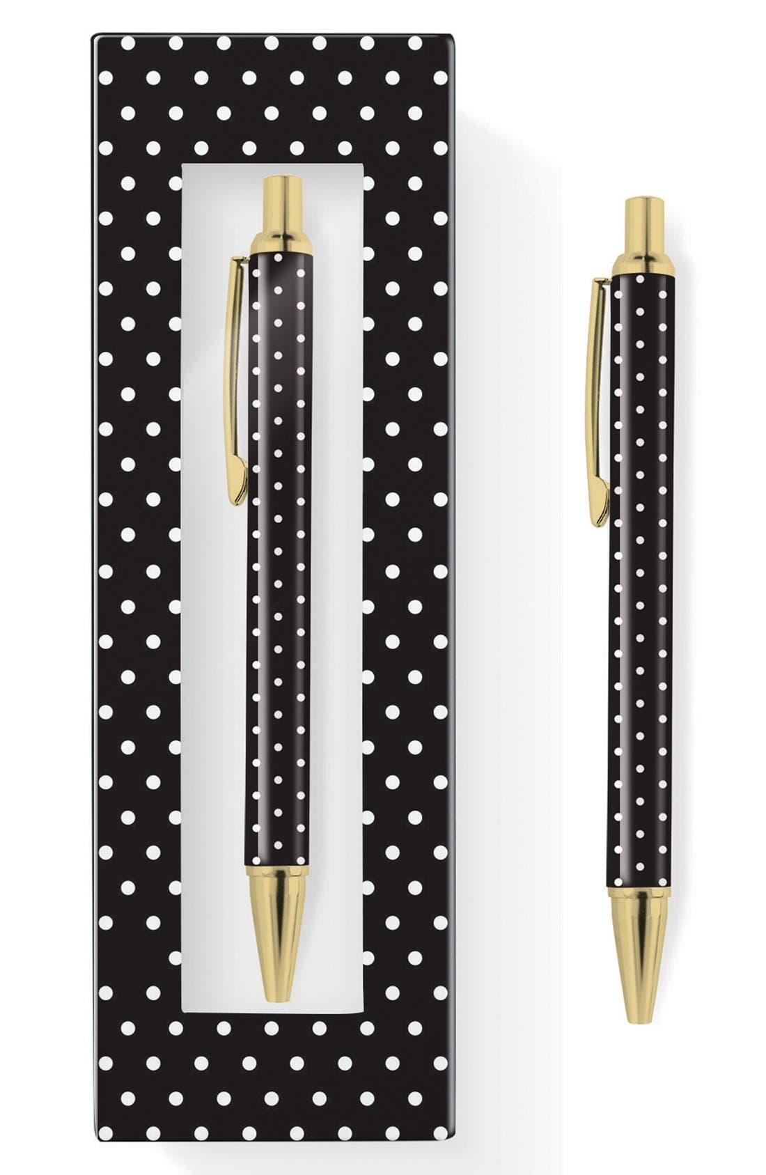 ,                             'Pas - Black & White Dot' Retractable Metal Ballpoint Pen,                             Alternate thumbnail 4, color,                             100