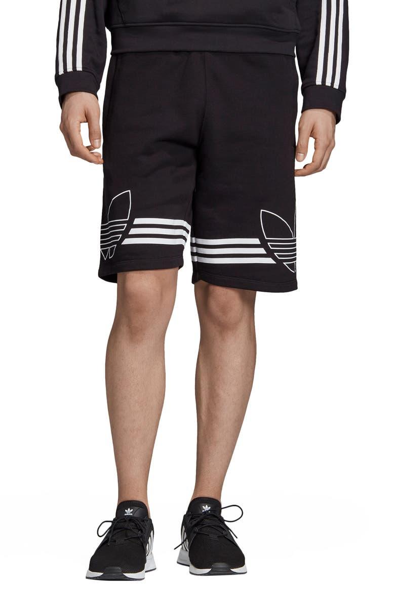 ADIDAS ORIGINALS Outline Trefoil Athletic Shorts, Main, color, BLACK