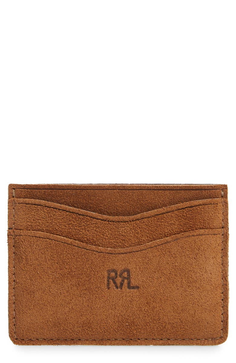 RRL Suede Cardholder, Main, color, LIGHT JAVA
