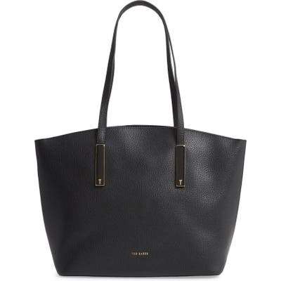 Ted Baker London Large Sheriee Curved Leather Shopper & Pouch - Black