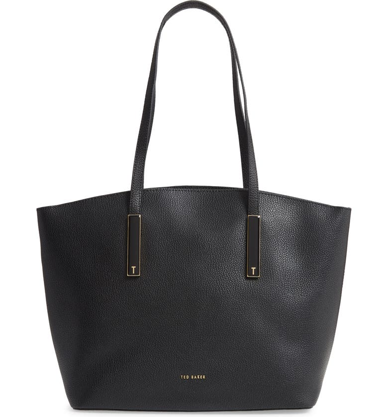 TED BAKER LONDON Large Sheriee Curved Leather Shopper & Pouch, Main, color, BLACK