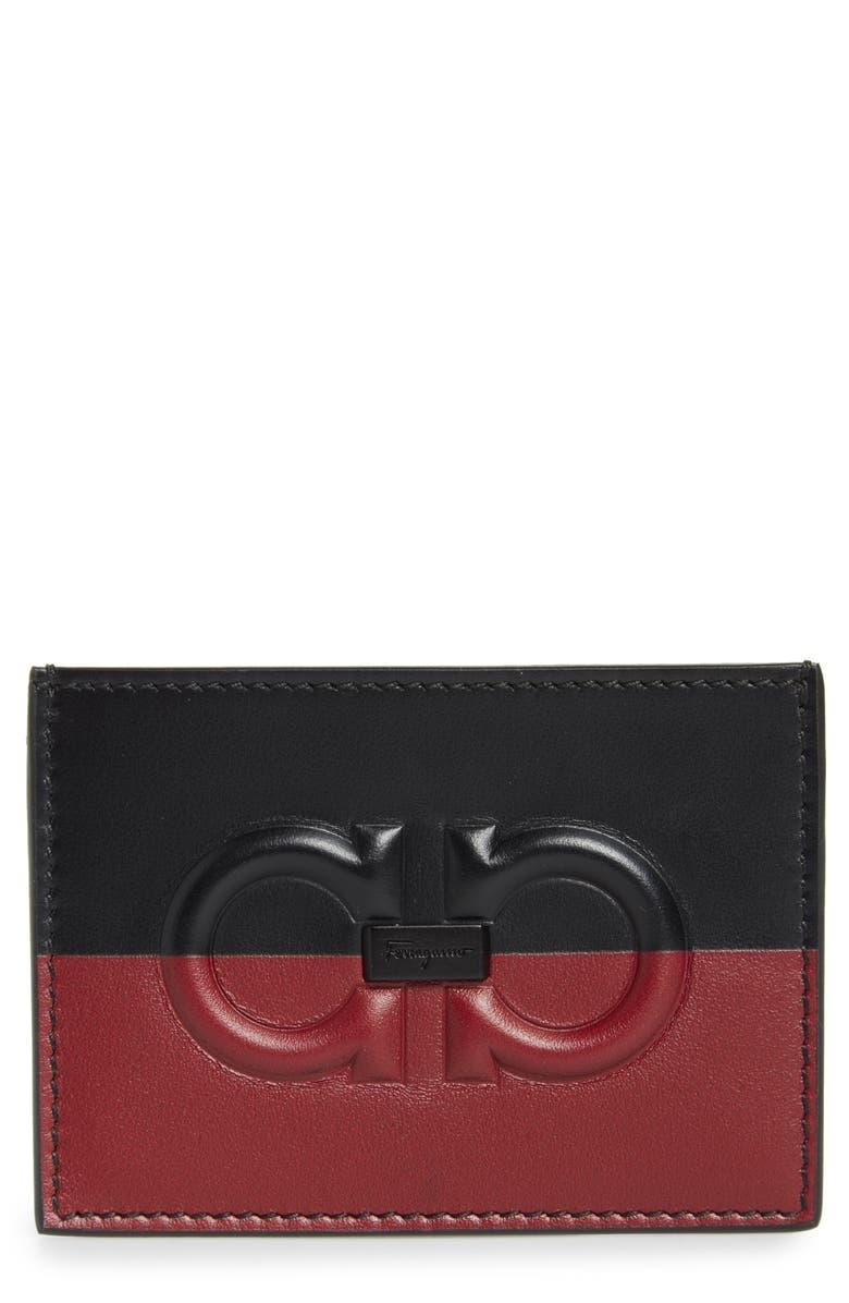 SALVATORE FERRAGAMO Colorblock Leather Card Case, Main, color, 600