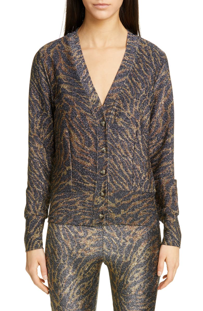 GANNI Tiger Print Metallic Jersey Cardigan, Main, color, TIGER