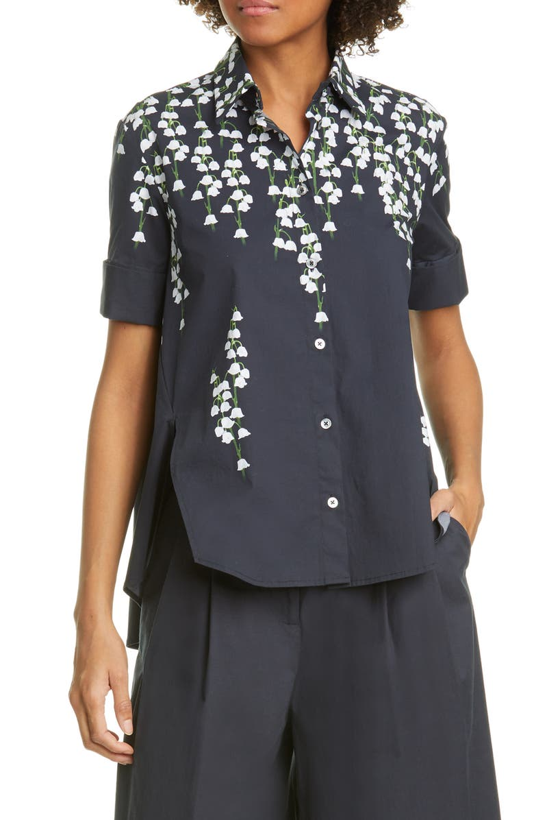 ADAM LIPPES Floral Print Stretch Poplin Shirt, Main, color, 001
