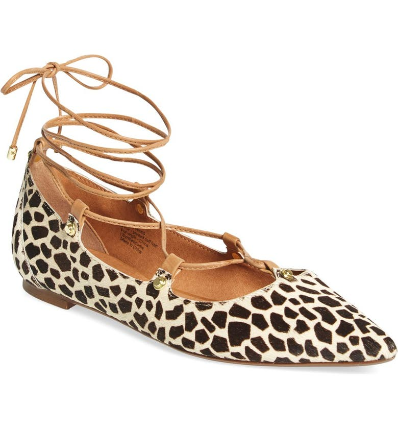 HALOGEN<SUP>®</SUP> 'Owen' Genuine Calf Hair Pointy Toe Ghillie Flat, Main, color, 256