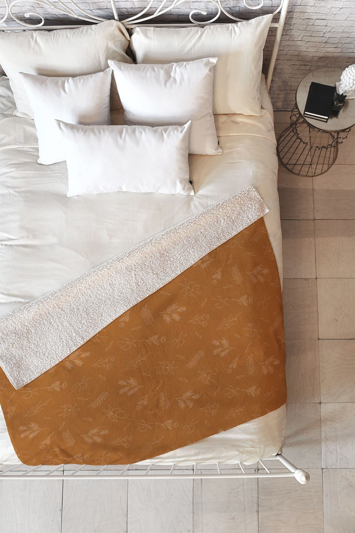 Image of Deny Designs Cuss Yeah Designs Rust Floral Pattern 001 Faux Shearling Fleece Throw Blanket
