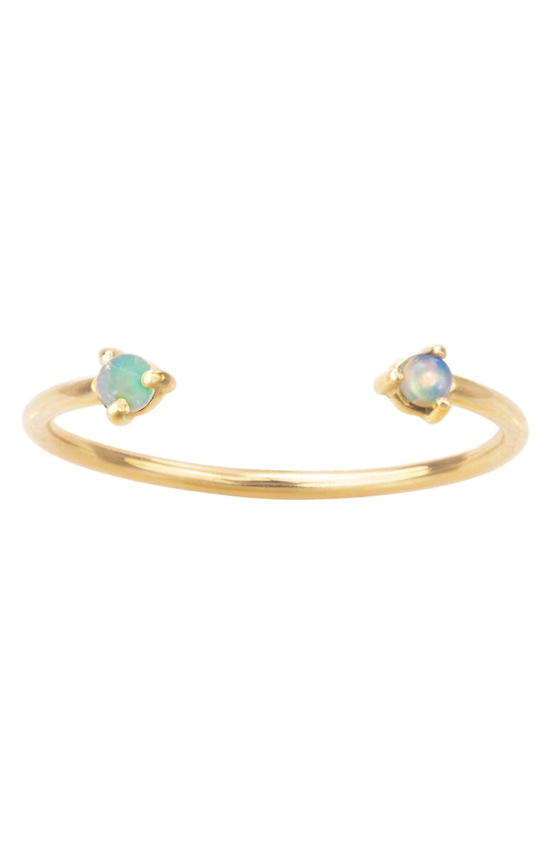 WWAKE Counting Collection Two-Step Tourmaline & Sunstone Ring, Main, color, YELLOW GOLD