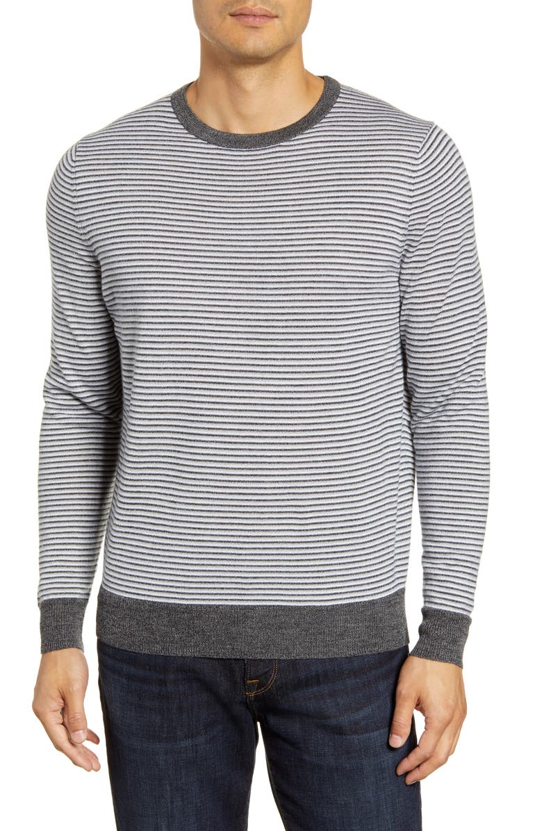 NORDSTROM MEN'S SHOP Regular Fit Stripe Merino Wool Blend Sweater, Main, color, GREY SHADE HEATHER STRIPE