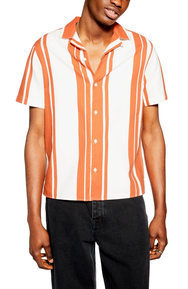 Stripe Short Sleeve Button Up Camp Shirt by Topman