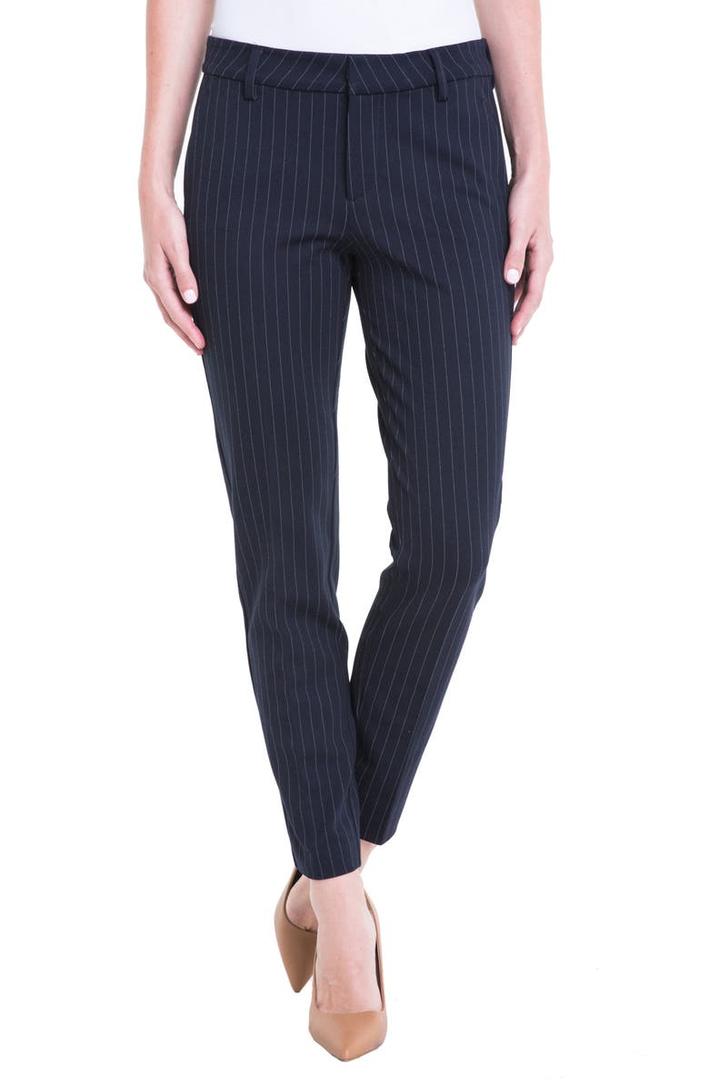 LIVERPOOL Kelsey Knit Pinstripe Trousers, Main, color, NAVY