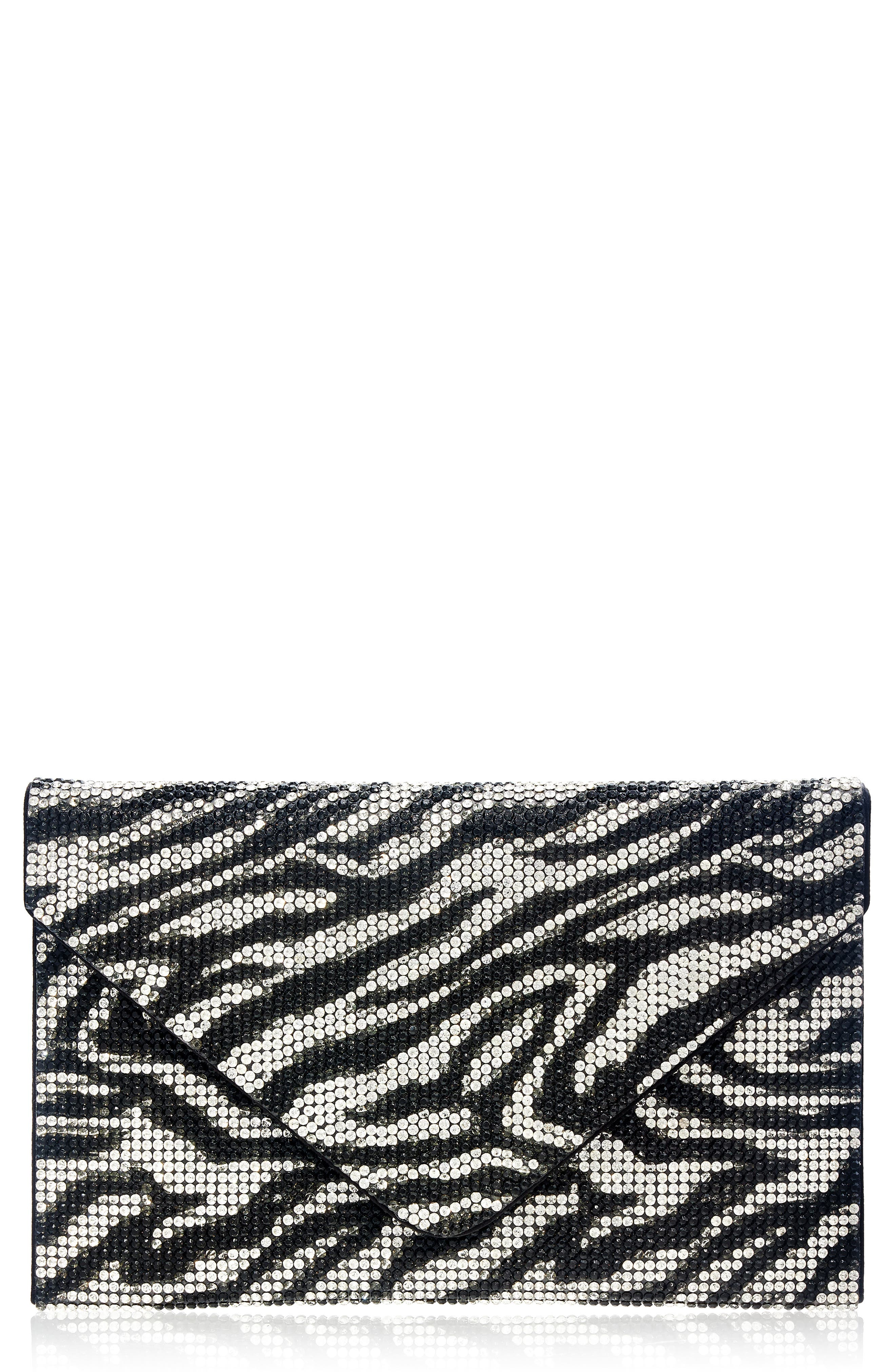 Couture Zebra Stripe Crystal Envelope Clutch