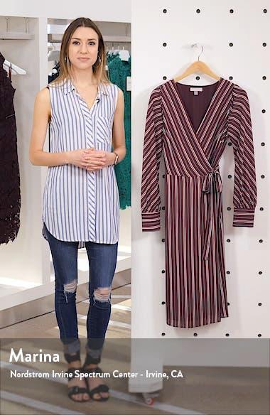 Striped Long Sleeve Wrap Midi Dress, sales video thumbnail