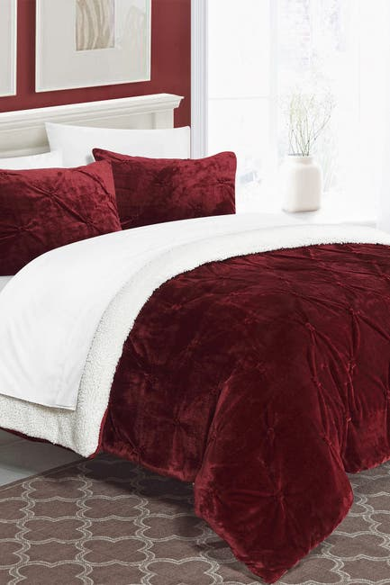 Image of Chic Home Bedding King Aurelia Pinch Pleate Faux Shearling Lined Comforter Set - Red