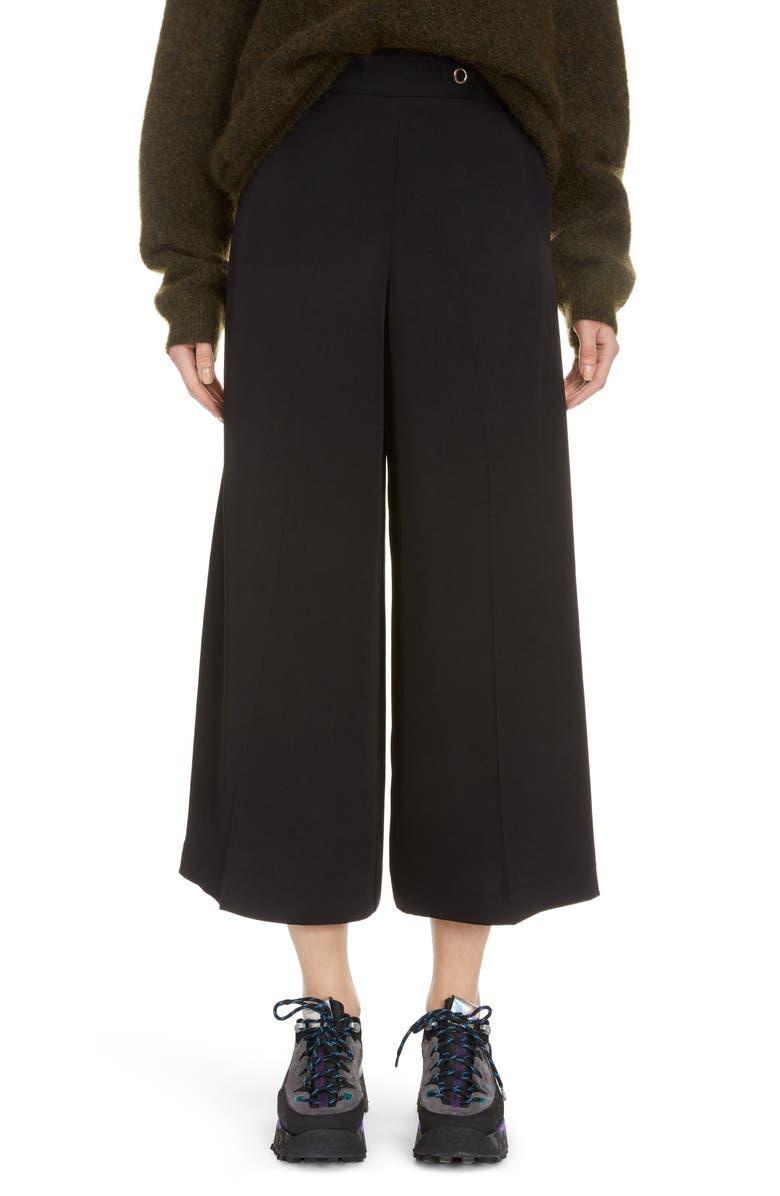 ACNE STUDIOS Pancy Wide Leg Twill Crop Pants, Main, color, BLACK