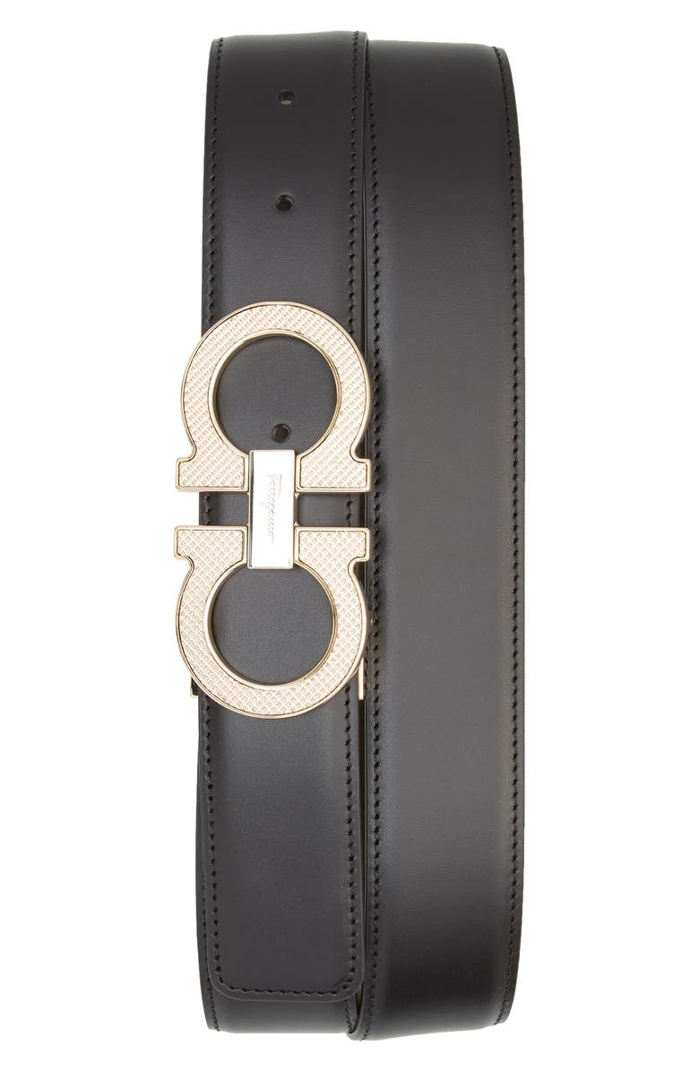 SALVATORE FERRAGAMO Reversible Leather Belt, Main, color, 001