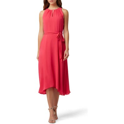 Petite Tahari Sleeveless Tie Waist Chiffon Midi Dress, Coral