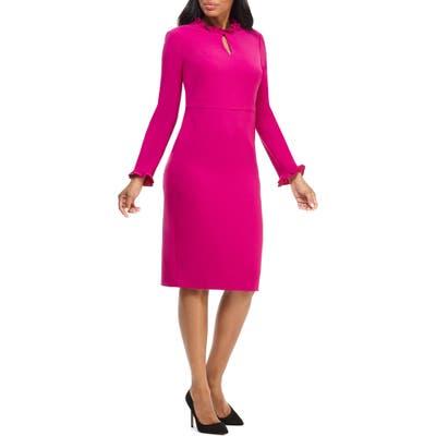 Maggy London Long Sleeve Ruffle Sheath Dress, Pink
