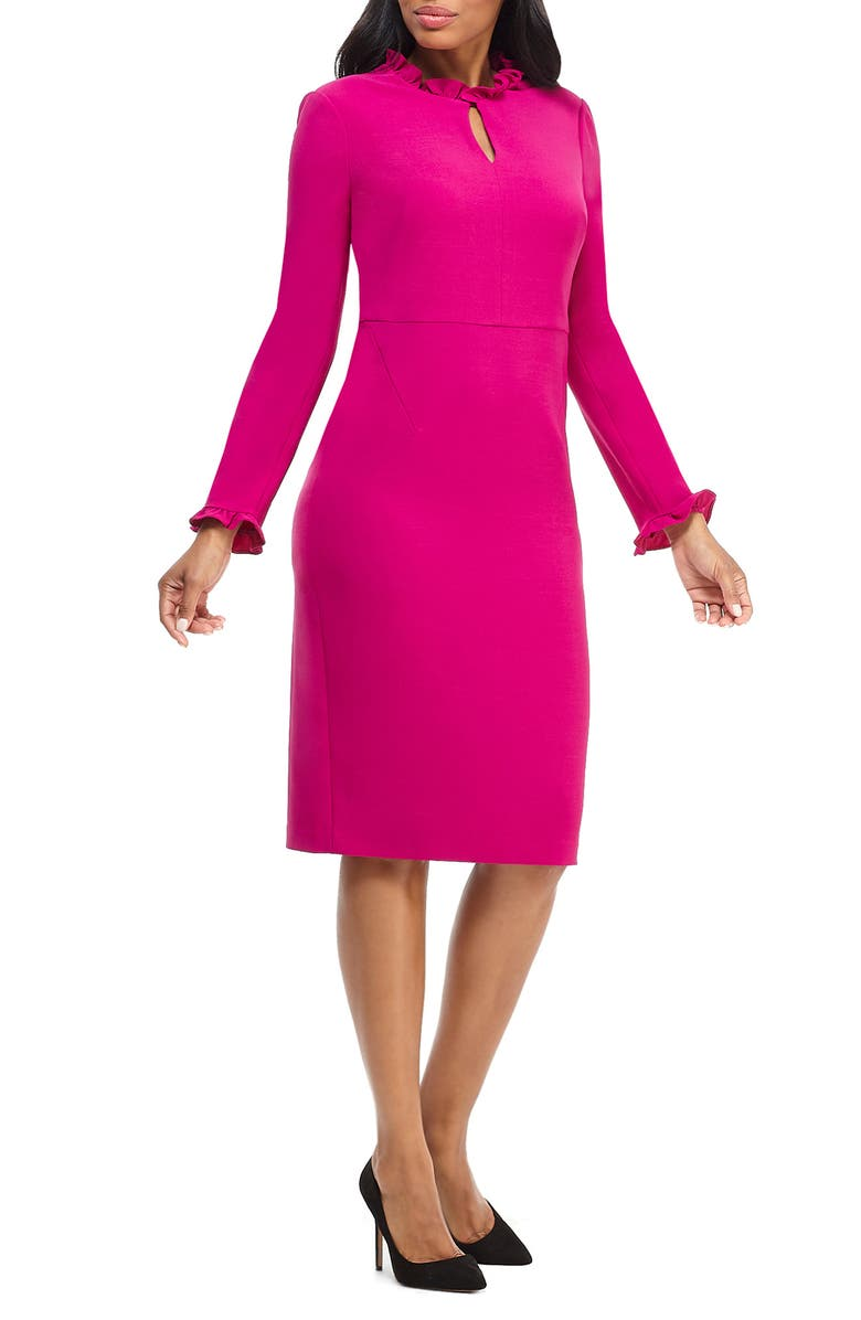 MAGGY LONDON Long Sleeve Ruffle Sheath Dress, Main, color, RASPBERRY