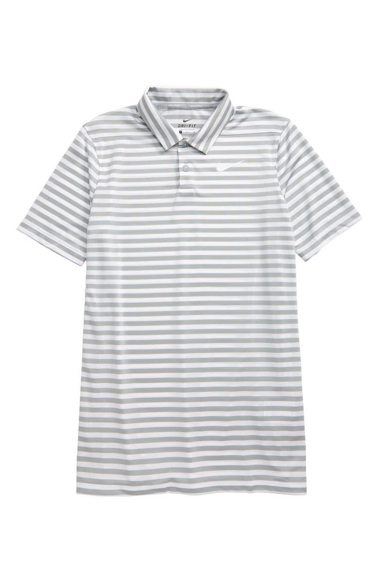 NIKE Dri-FIT Victory Stripe Polo, Main, color, WOLF GREY / WHITE