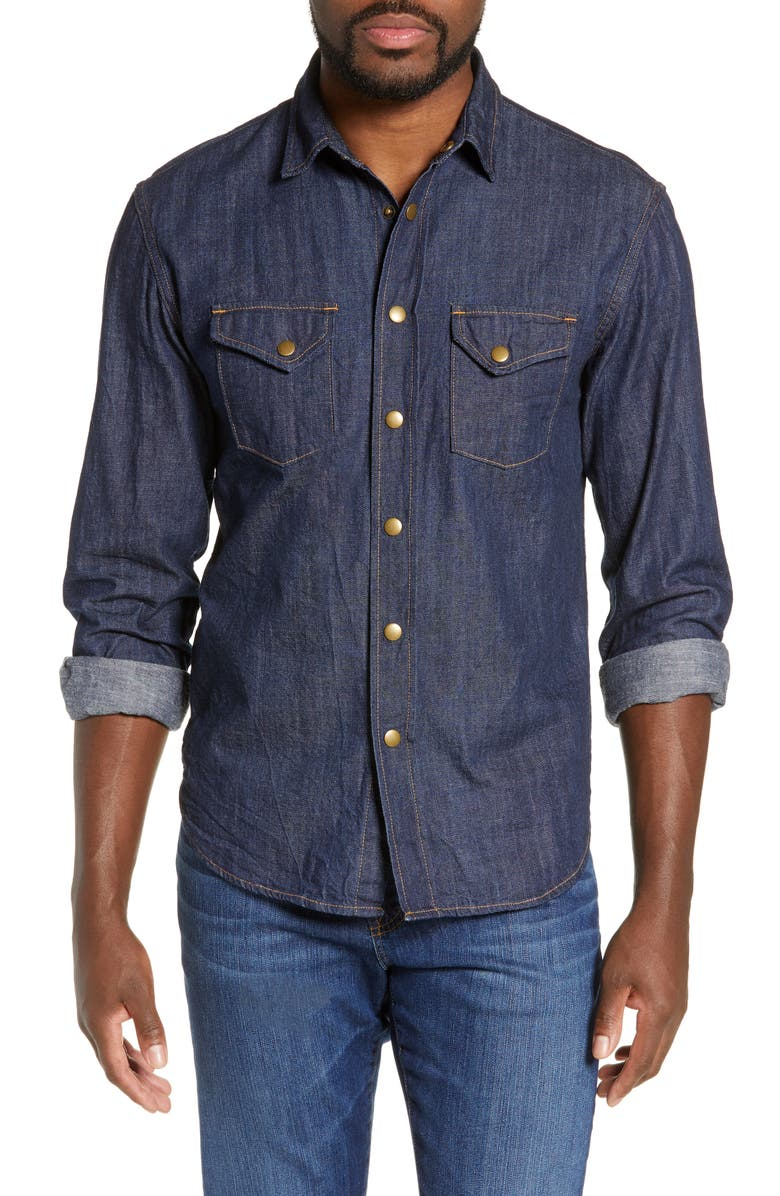 BILLY REID Distressed Denim Western Shirt, Main, color, 400