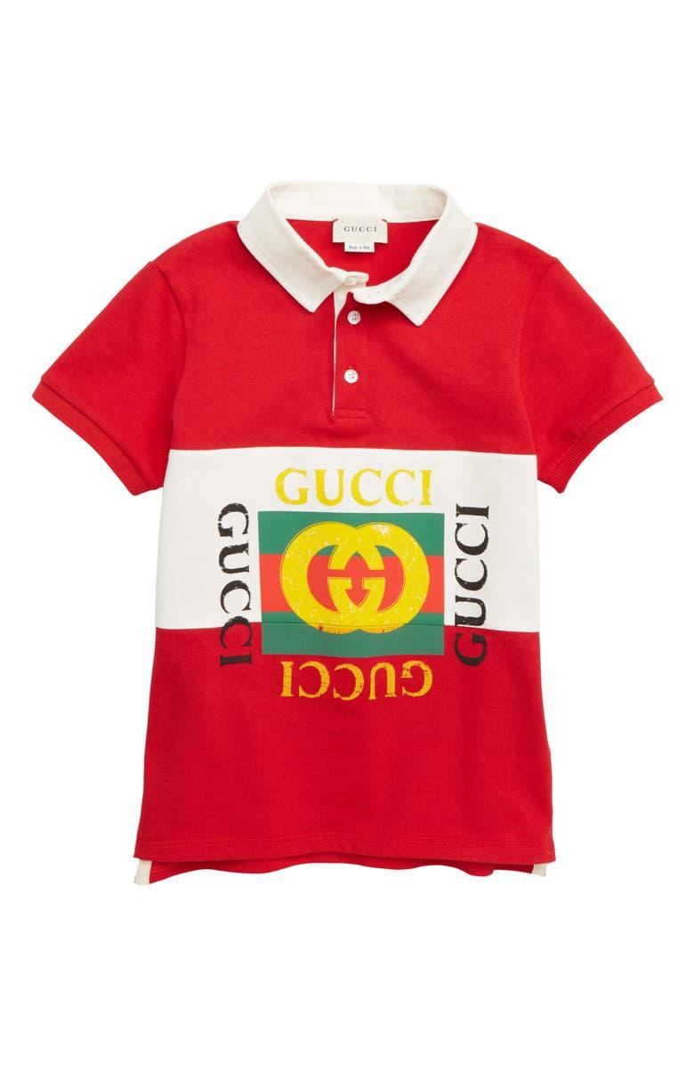 GUCCI Logo Polo, Main, color, LIVE RED MULTICOLOR