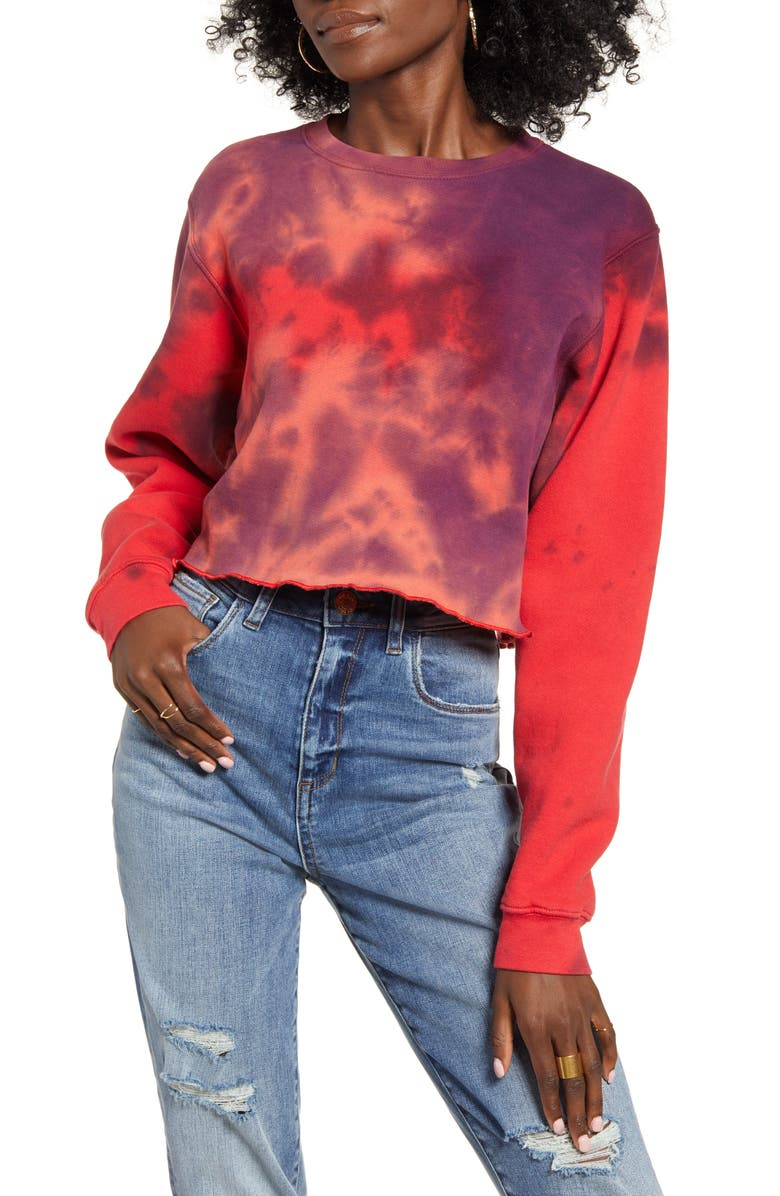 NEEMA CALIFORNIA Tie Dye Crop Pullover, Main, color, TIE DYE