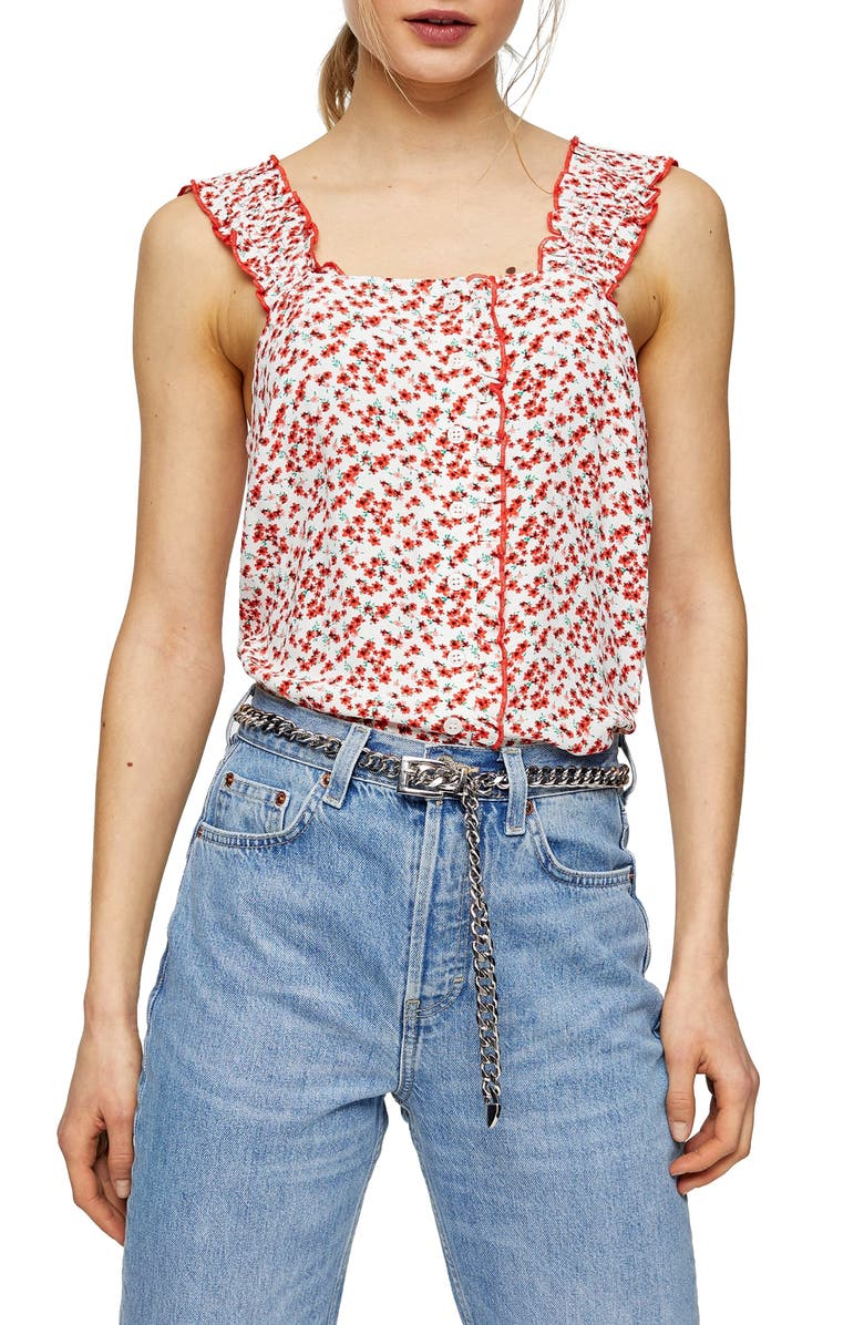 TOPSHOP Frill Trim Tank, Main, color, IVORY/ RED