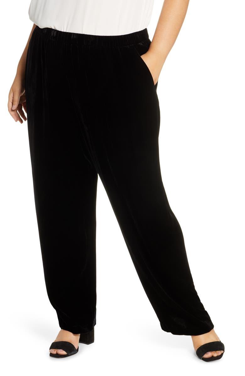 EILEEN FISHER Velvet Straight Leg Pants, Main, color, BLACK