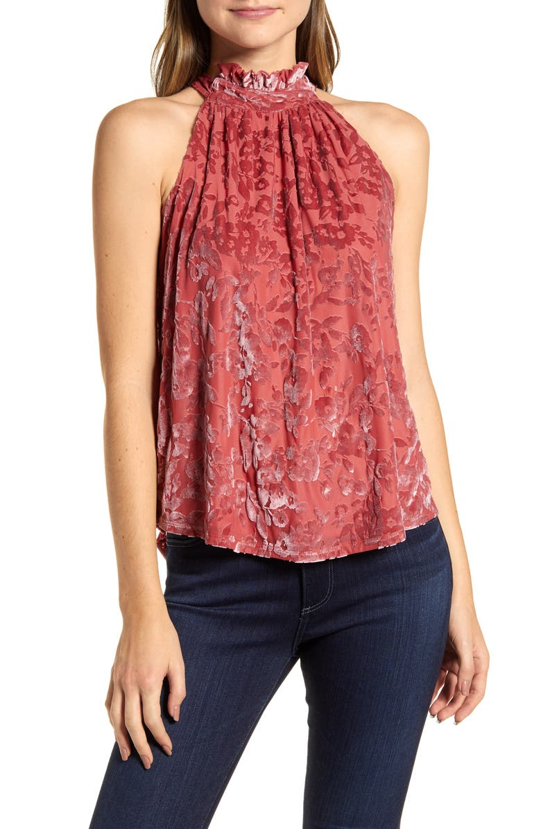 GIBSON x Glam The Motherchic Date Night Floral Flocked Velvet Halter Top, Main, color, SUGAR CORAL BLUSH