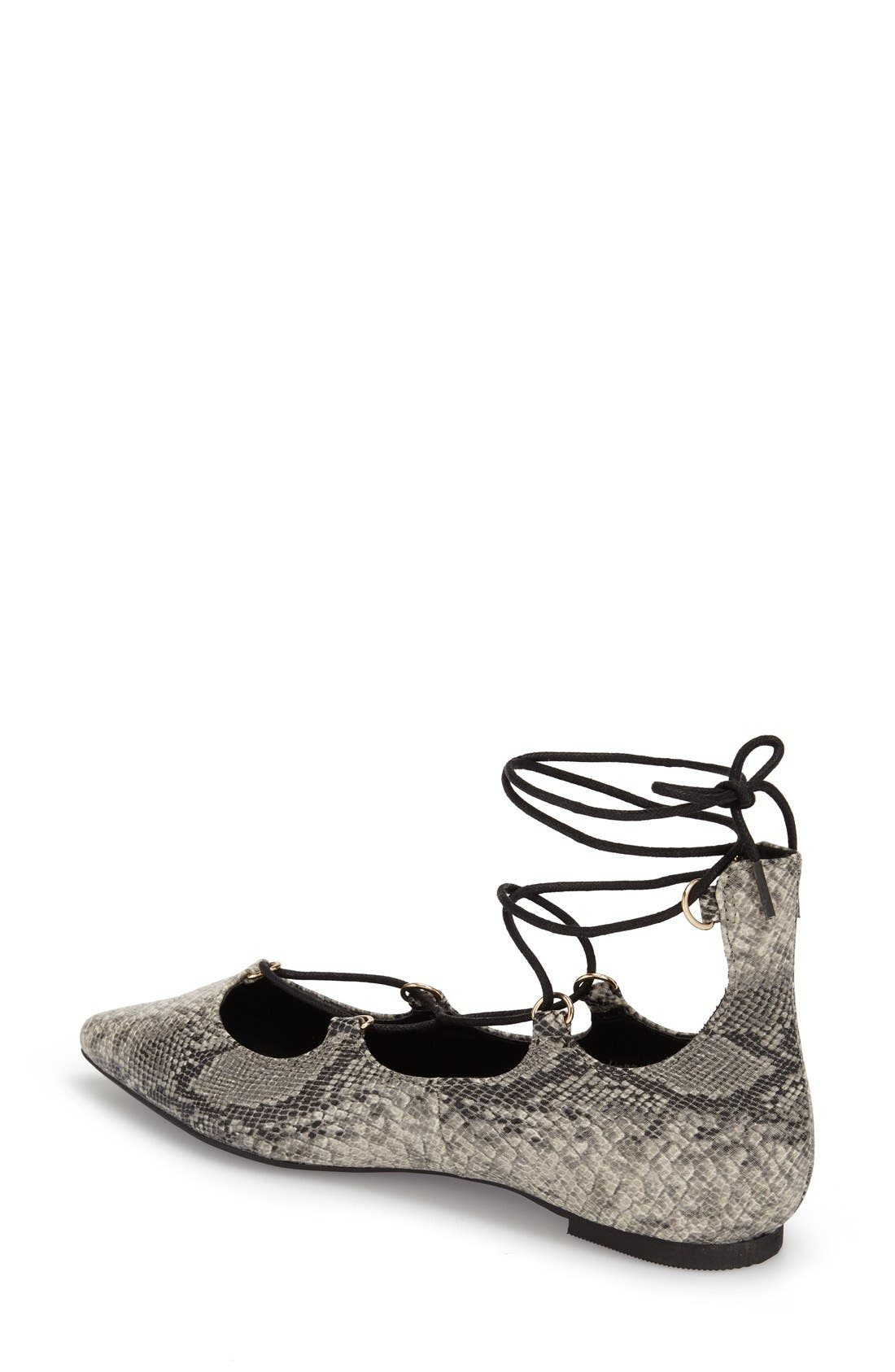 ,                             'Fancy' Pointy Toe Ghillie Flat,                             Alternate thumbnail 6, color,                             020