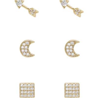 Ettika Dreamer 3-Pair Set Of Crystal Stud Earrings