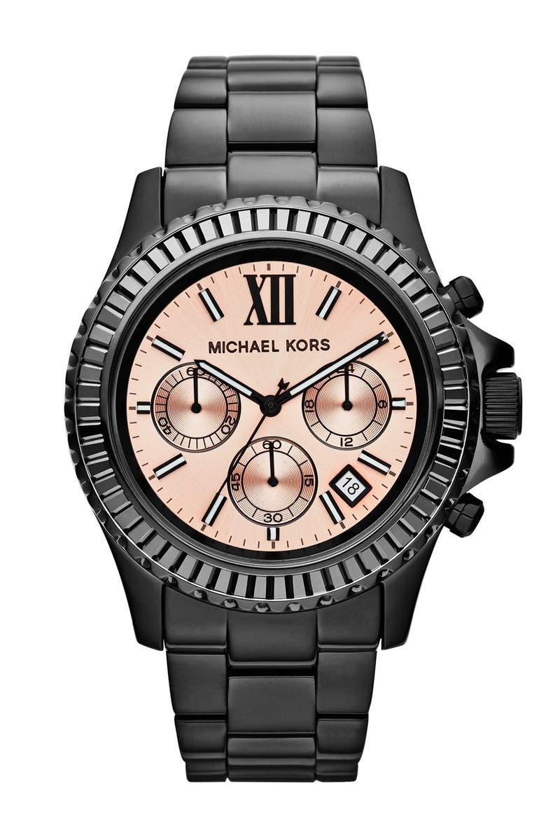 MICHAEL MICHAEL KORS Michael Kors 'Everest' Baguette Crystal Bezel Bracelet Watch, 41mm, Main, color, 001
