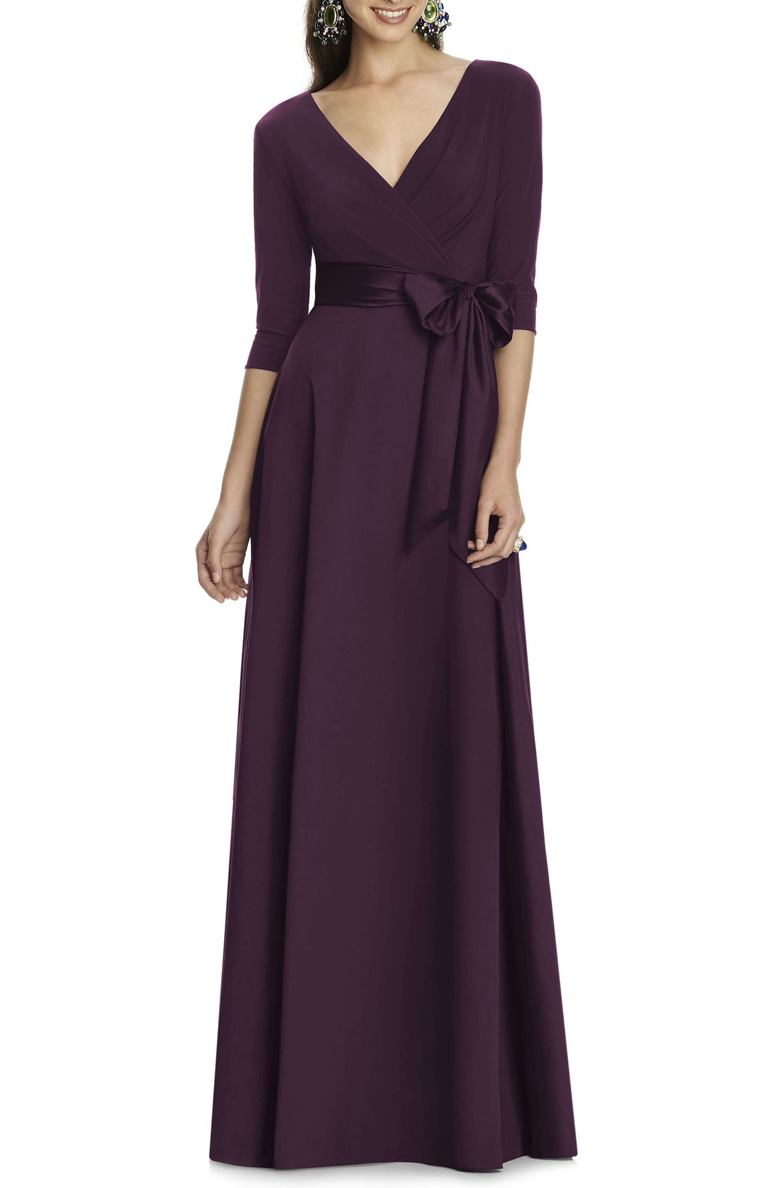 Alfred Sung Jersey & Mikado A-Line Gown, Purple