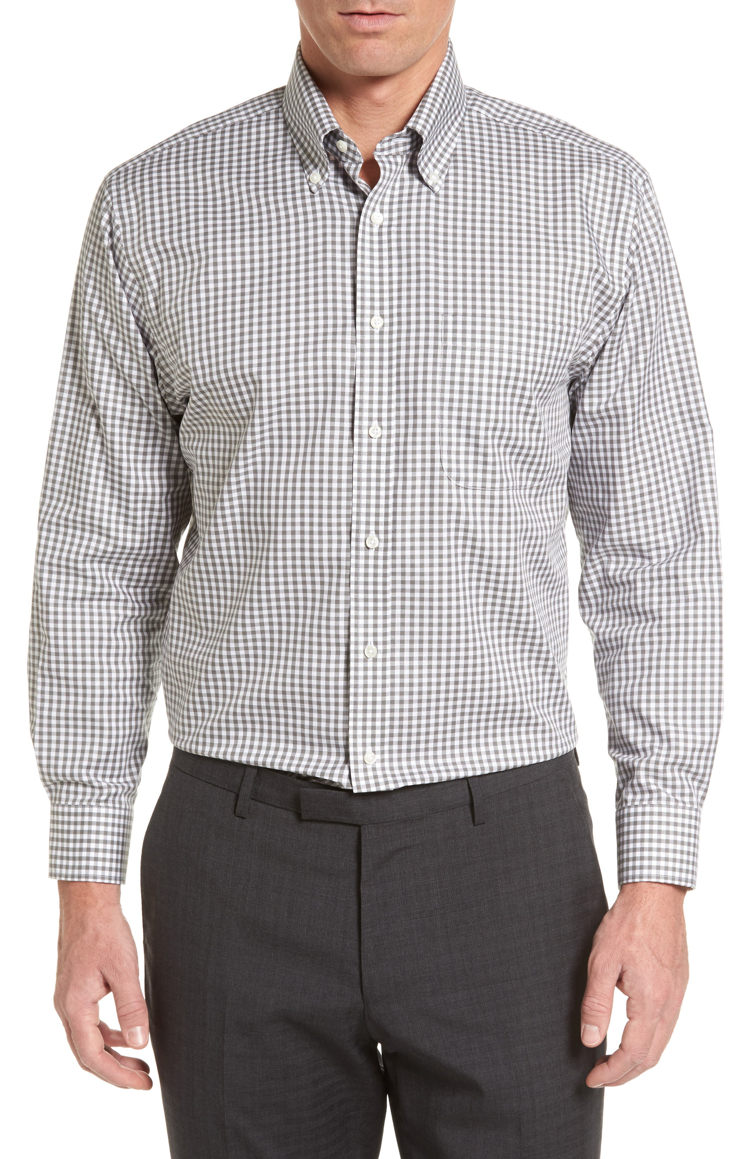 ,                             Traditional Fit Non-Iron Gingham Dress Shirt,                             Main thumbnail 5, color,                             030