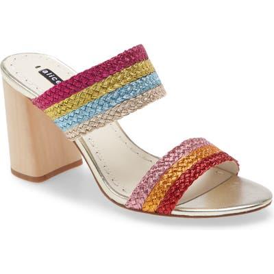 Alice + Olivia Loni Metallic Braided Strap Sandal, Brown