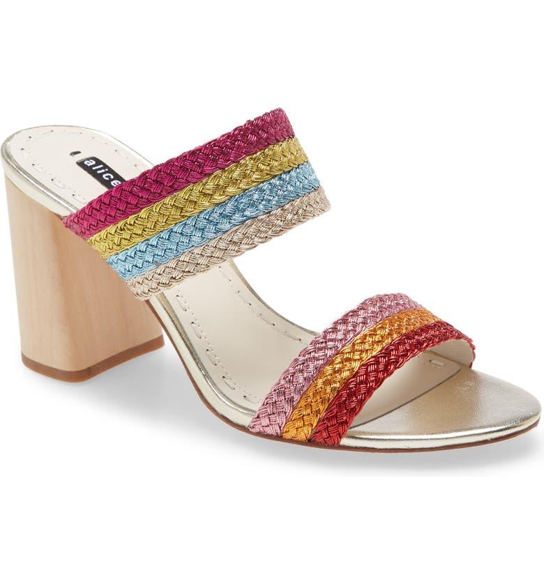 ALICE + OLIVIA Loni Metallic Braided Strap Sandal, Main, color, 200