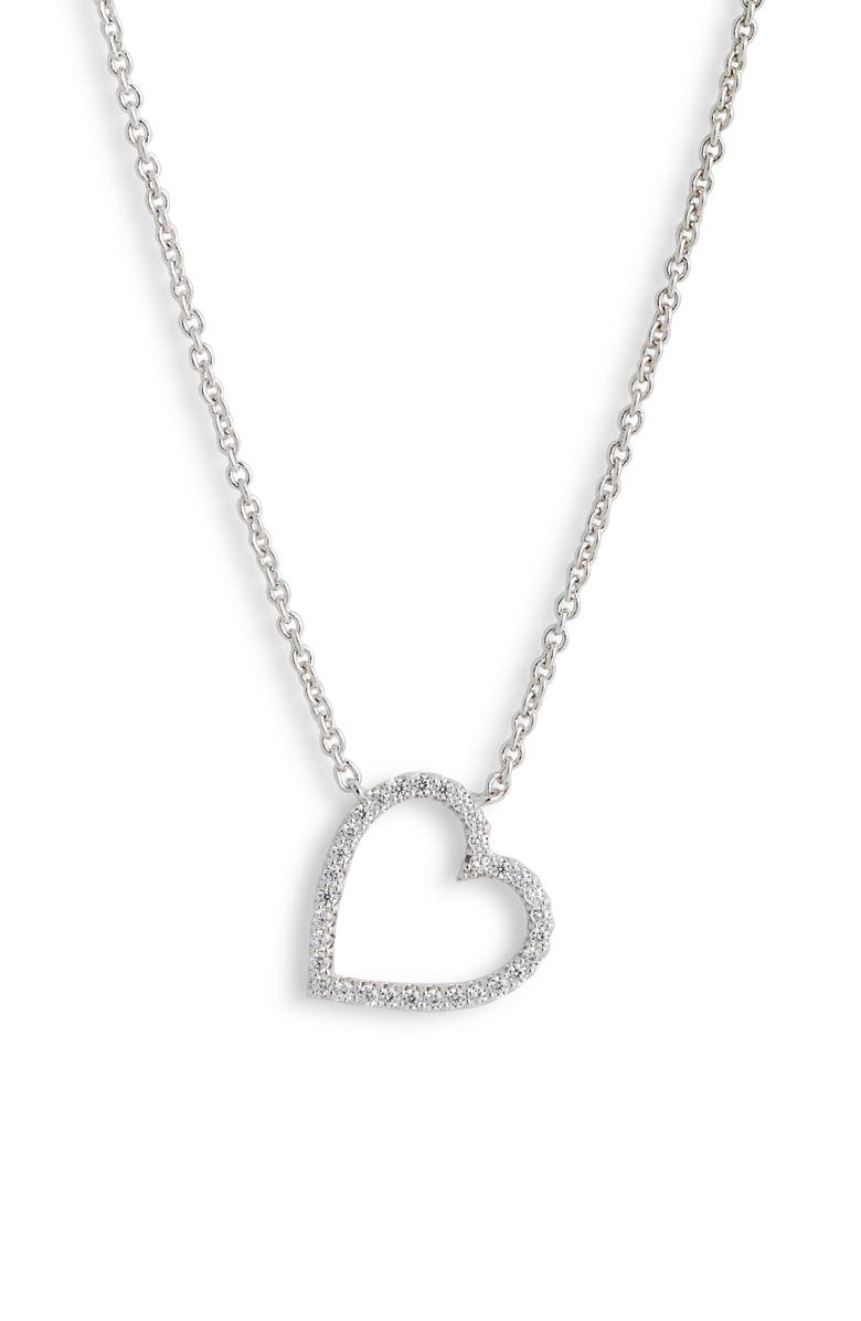 NADRI Cubic Zirconia Heart Pendant Necklace, Main, color, SILVER