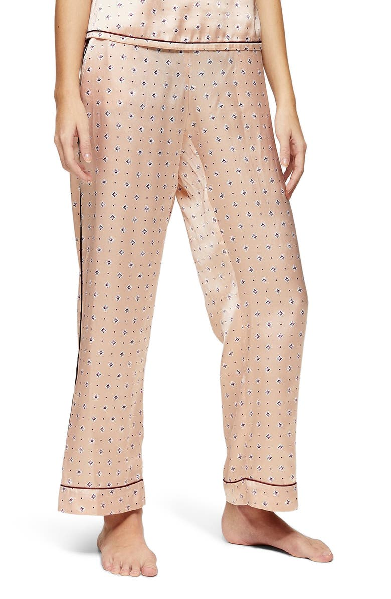 TOPSHOP Tile Print Satin Pajama Pants, Main, color, 680