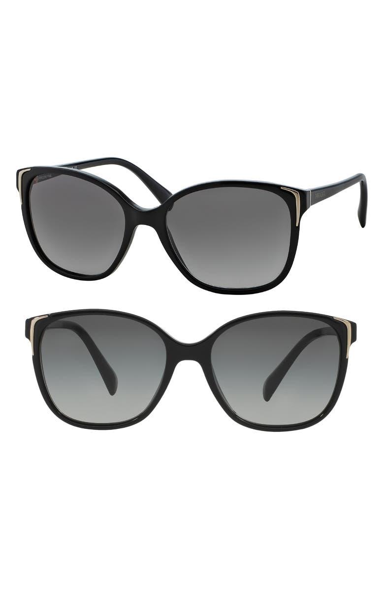 PRADA 55mm Cat Eye Sunglasses, Main, color, BLACK/ GREY GRADIENT