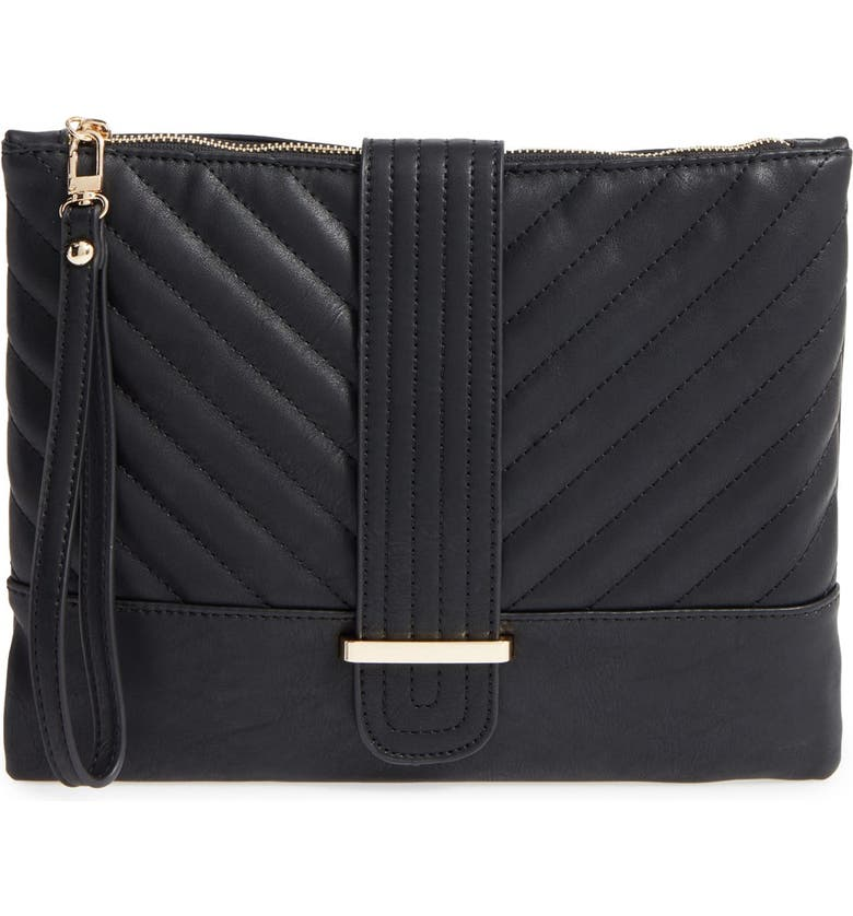 EMPERIA Quilted Faux Leather Clutch, Main, color, 001