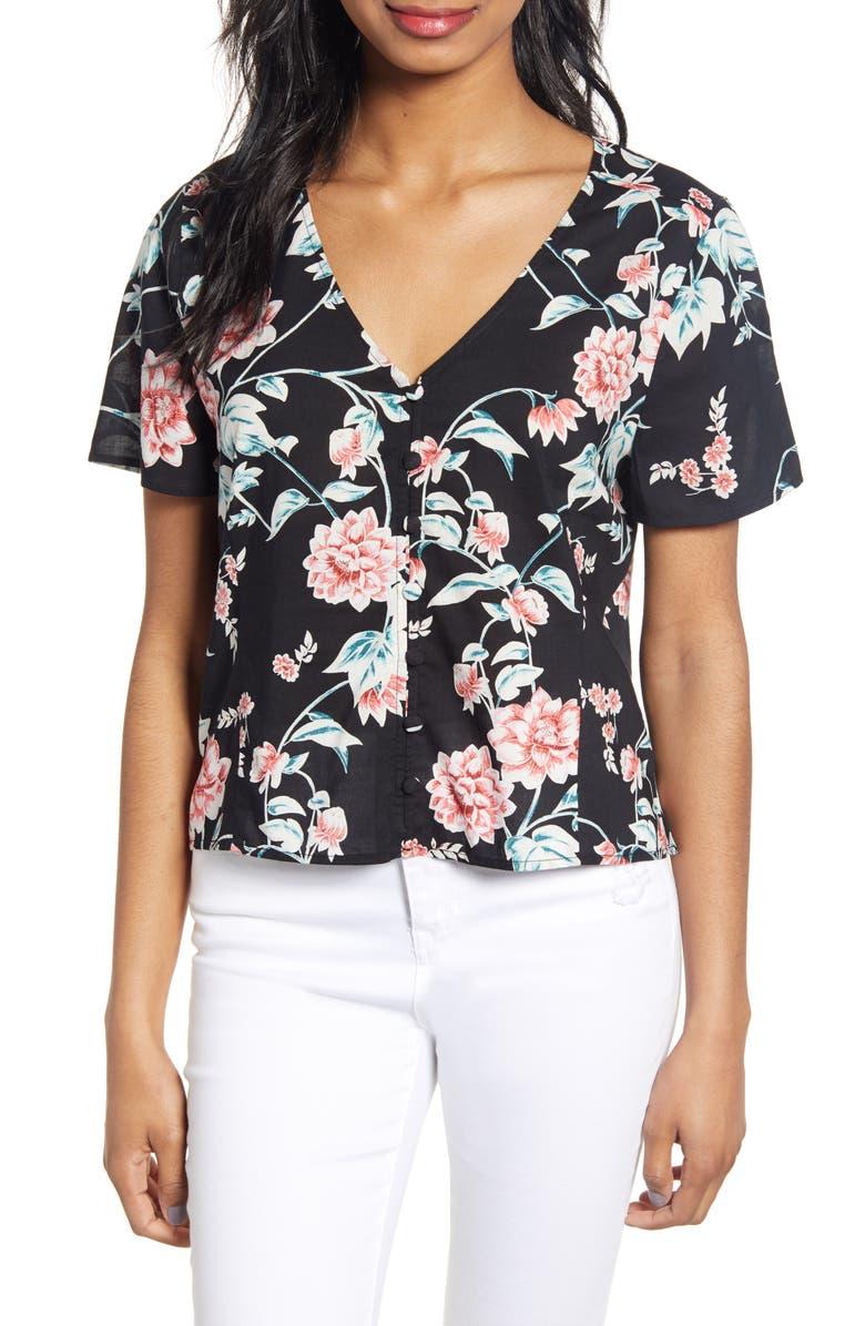 BP. Floral Print Button Front Blouse, Main, color, 001