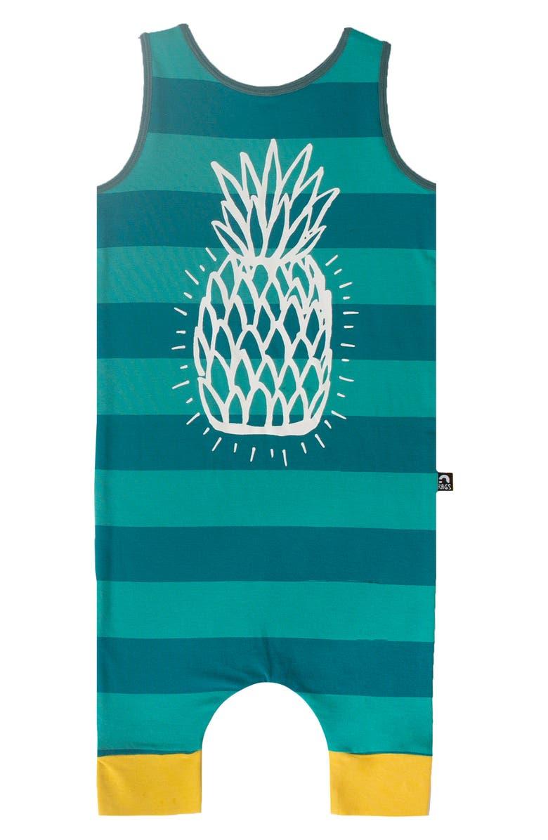 RAGS Pineapple Stripe Tank Romper, Main, color, GREEN/ BLUE