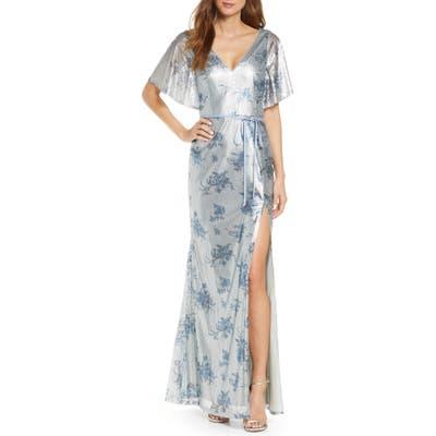Marchesa Notte V-Neck Print Sequin Bridesmaid Gown, Blue