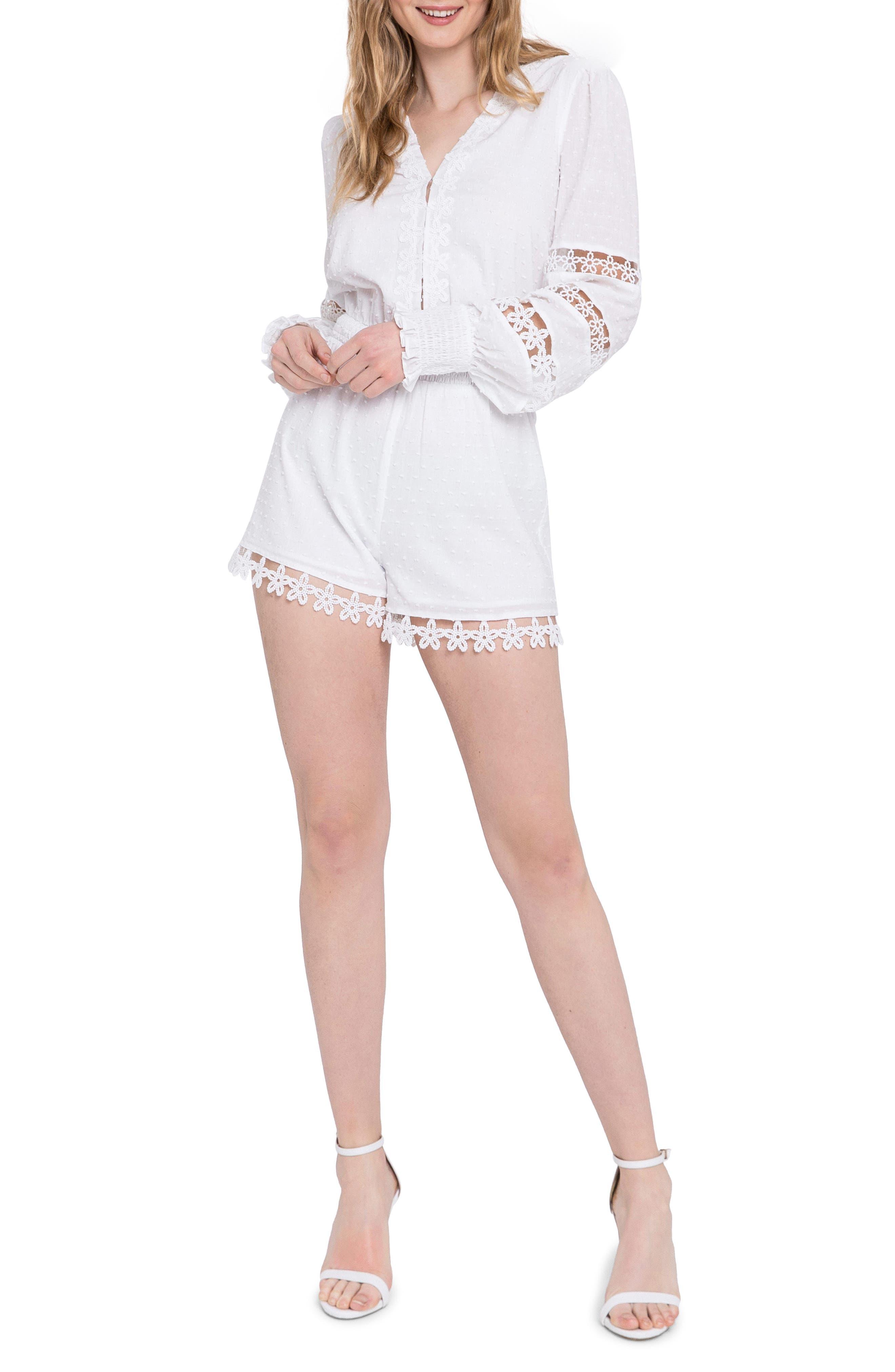 Lace Trim Long Sleeve Cotton Romper