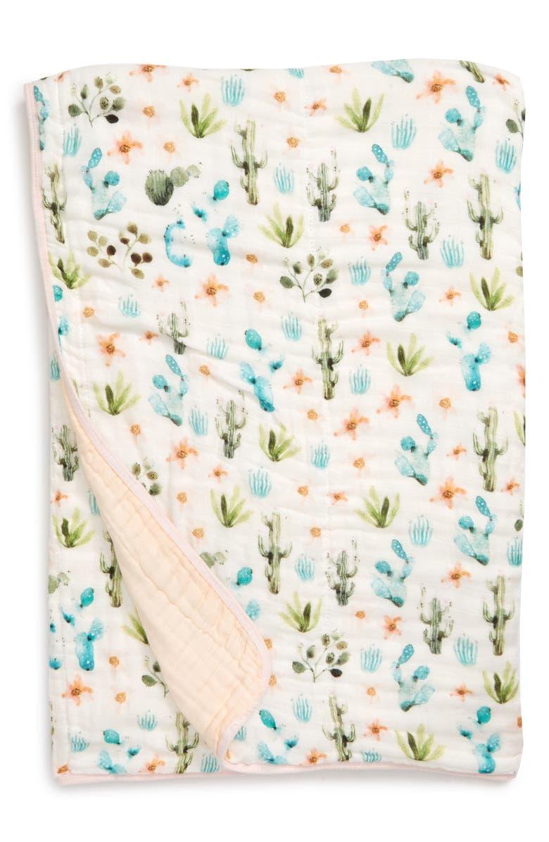 LOULOU LOLLIPOP Cactus Floral Deluxe Muslin Quilt, Main, color, CACTUS FLORAL