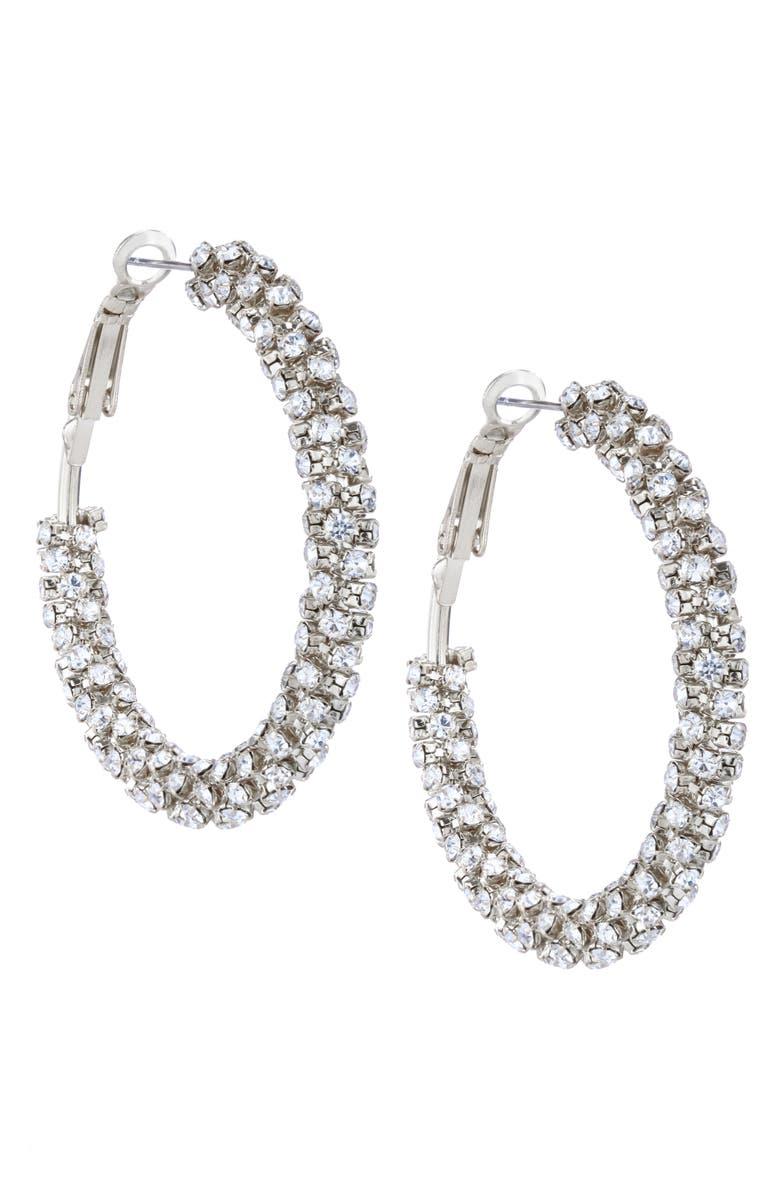 NINA Wrapped Hoop Earrings, Main, color, RHODIUM/ WHITE CRYSTAL