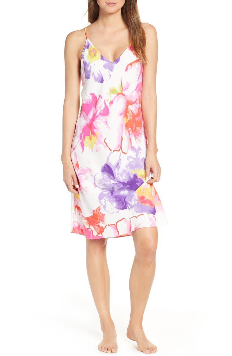 NATORI Soleil Slip Nightgown, Main, color, MLT HT PINK MULTI