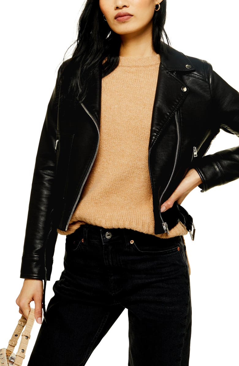 TOPSHOP Kota Crop Faux Leather Jacket, Main, color, BLACK
