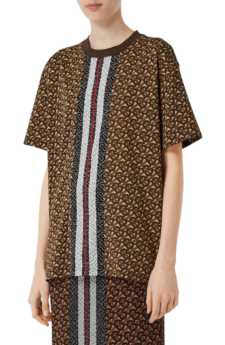 BURBERRY Carrick Oversize Monogram Stripe Tee, Main, color, BRIDLE BROWN IP PTN